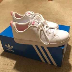 Adidas white leather shoes